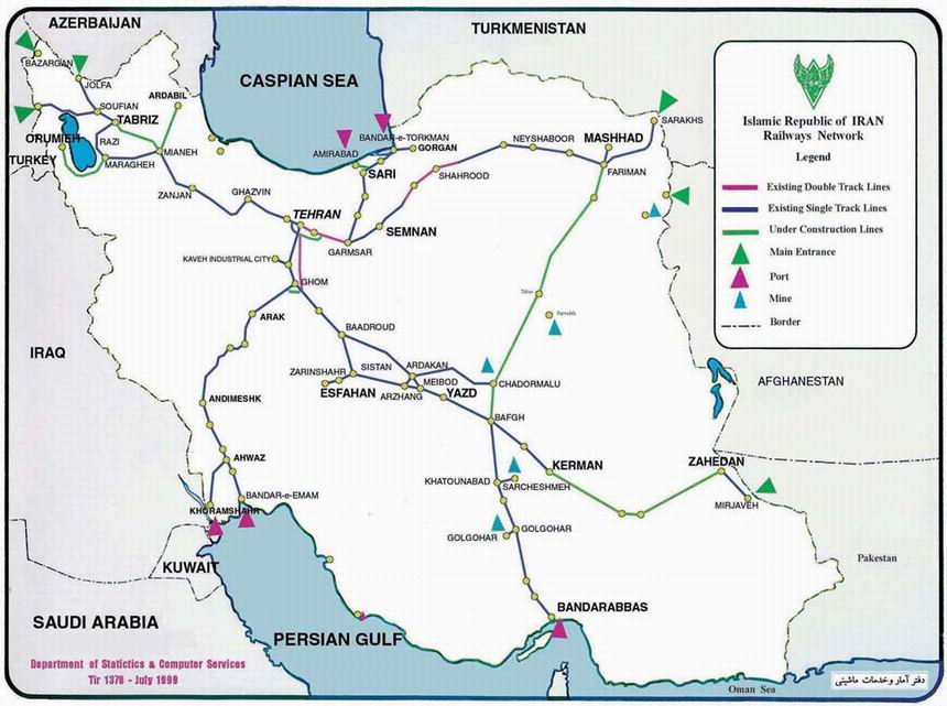 Iran Trains Iran Rail Ways Rail Road Map